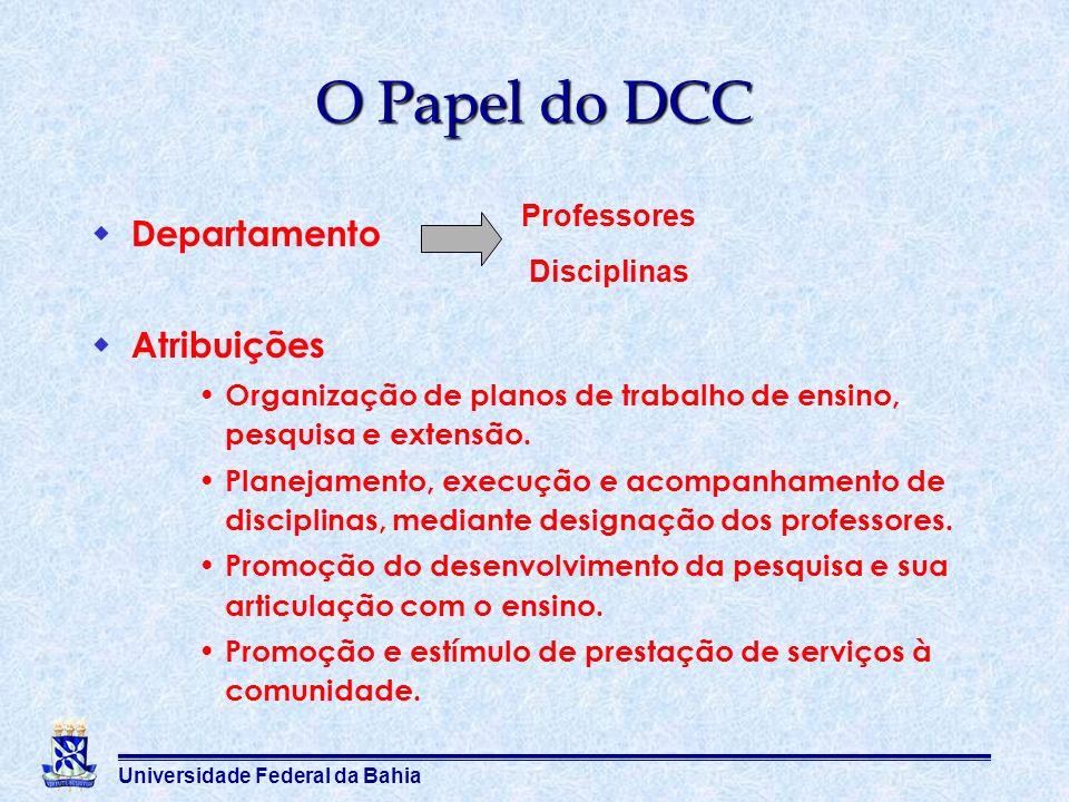Universidade Federal da Bahia Departamento Atribuições Organização de planos de trabalho de ensino, pesquisa e extensão. Planejamento, execução e acom