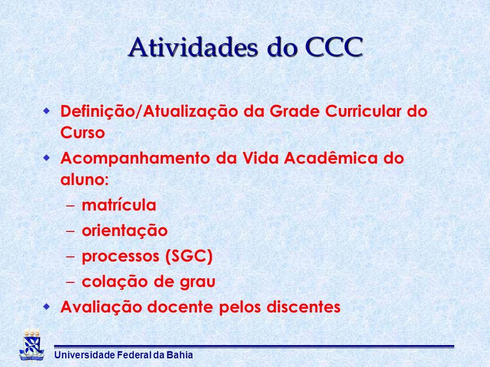 Universidade Federal da Bahia Atividades do CCC Definição/Atualização da Grade Curricular do Curso Acompanhamento da Vida Acadêmica do aluno: – matríc