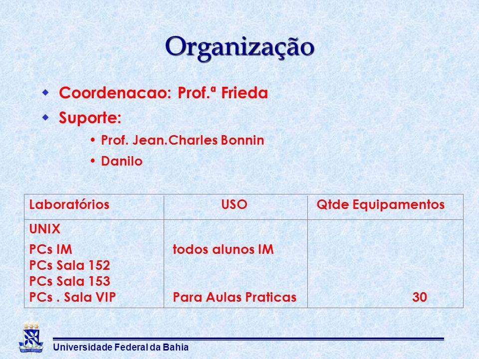 Universidade Federal da Bahia Organização Coordenacao: Prof.ª Frieda Suporte: Prof. Jean.Charles Bonnin Danilo Laboratórios USOQtde Equipamentos UNIX