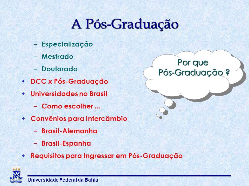 Universidade Federal da Bahia A Pós-Graduação – Especialização – Mestrado – Doutorado DCC x Pós-Graduação Universidades no Brasil – Como escolher... C