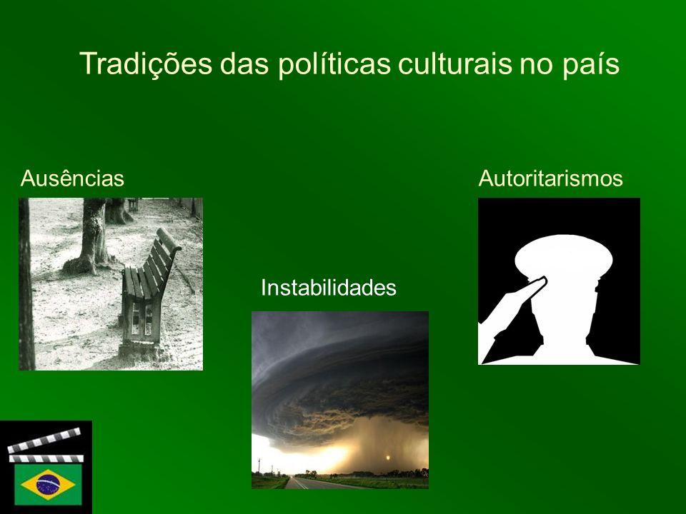 Tradições das políticas culturais no país Ausências Autoritarismos Instabilidades