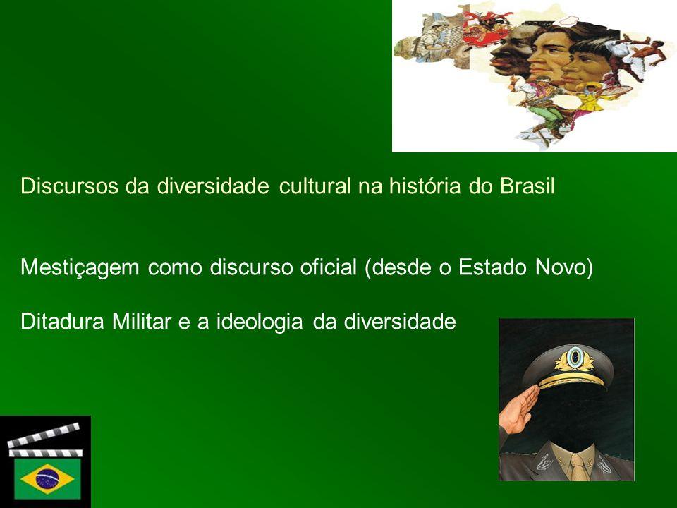 Discursos da diversidade cultural na história do Brasil Mestiçagem como discurso oficial (desde o Estado Novo) Ditadura Militar e a ideologia da diver