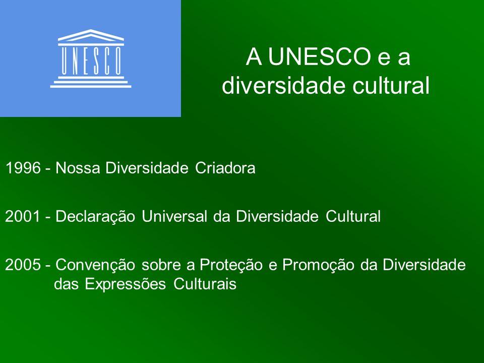 A UNESCO e a diversidade cultural 1996 - Nossa Diversidade Criadora 2001 - Declaração Universal da Diversidade Cultural 2005 - Convenção sobre a Prote