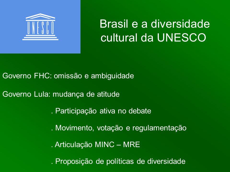 Brasil e a diversidade cultural da UNESCO Governo FHC: omissão e ambiguidade Governo Lula: mudança de atitude. Participação ativa no debate. Movimento