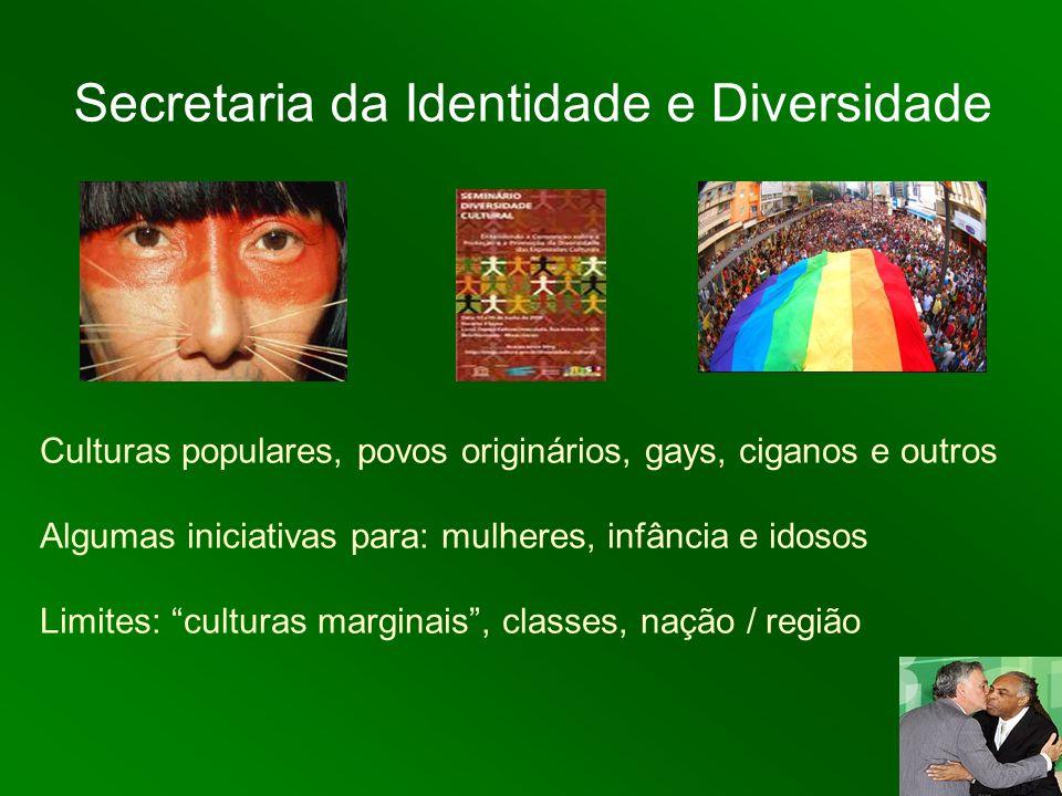 Secretaria da Identidade e Diversidade Culturas populares, povos originários, gays, ciganos e outros Algumas iniciativas para: mulheres, infância e id