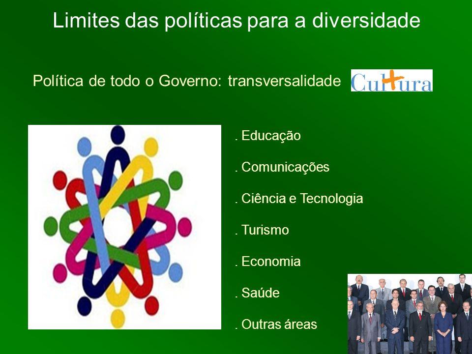 Política de todo o Governo: transversalidade. Educação. Comunicações. Ciência e Tecnologia. Turismo. Economia. Saúde. Outras áreas Limites das polític