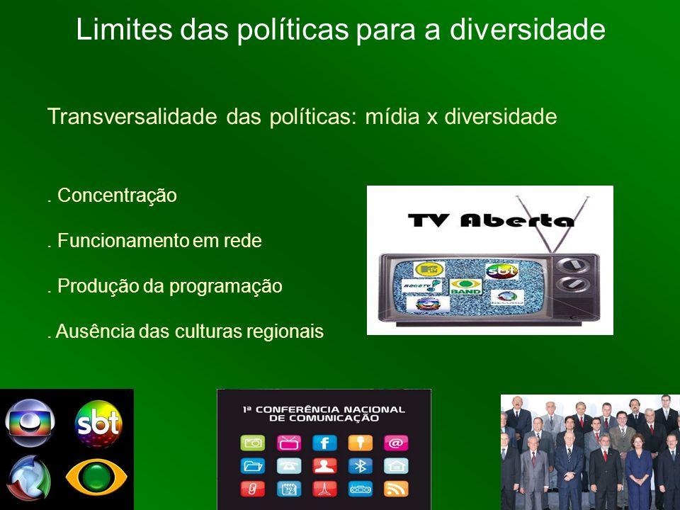 Transversalidade das políticas: mídia x diversidade. Concentração. Funcionamento em rede. Produção da programação. Ausência das culturas regionais Lim