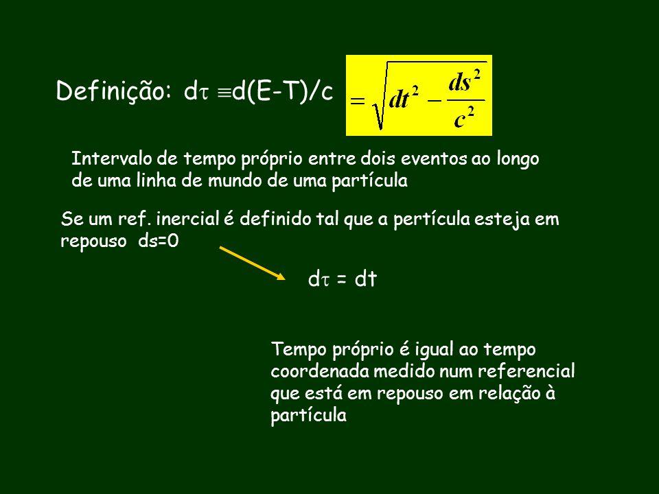 Definição: d d(E-T)/c Intervalo de tempo próprio entre dois eventos ao longo de uma linha de mundo de uma partícula Se um ref. inercial é definido tal