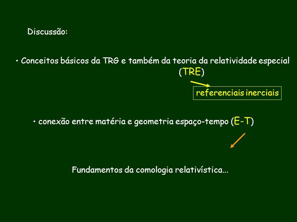 Discussão: Conceitos básicos da TRG e também da teoria da relatividade especial ( TRE ) conexão entre matéria e geometria espaço-tempo ( E-T ) Fundame