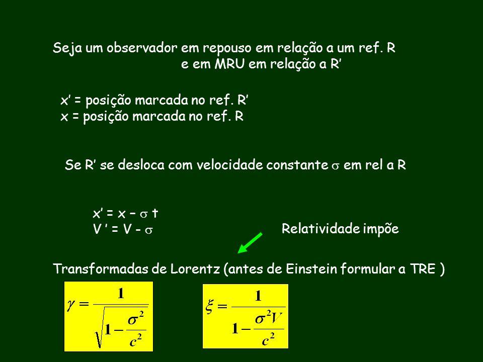 Seja um observador em repouso em relação a um ref. R e em MRU em relação a R x = posição marcada no ref. R Se R se desloca com velocidade constante em