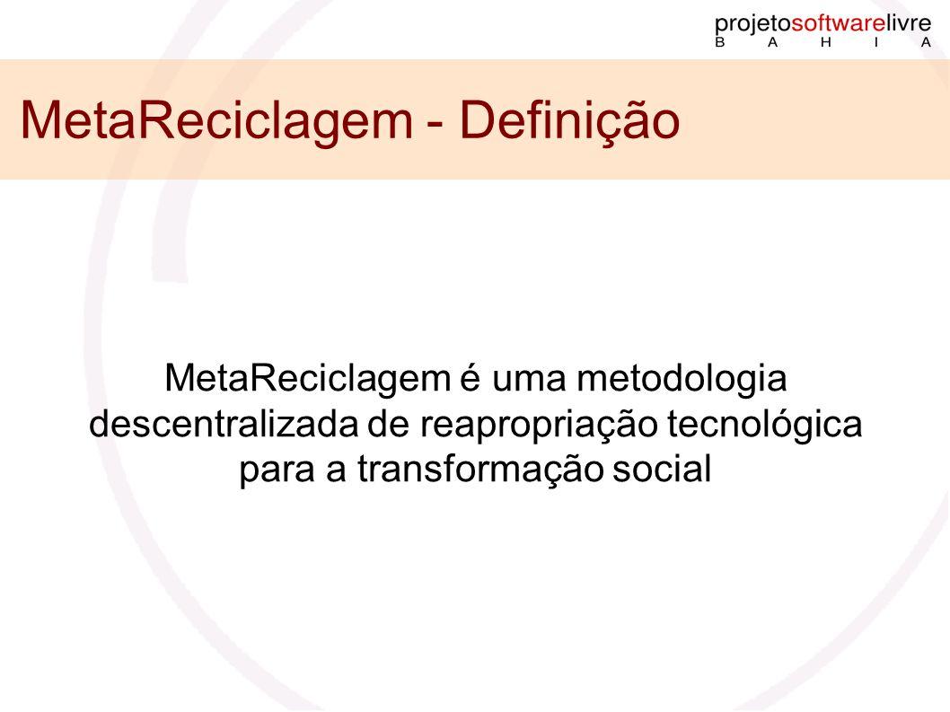 MetaReciclagem - Definição MetaReciclagem é uma metodologia descentralizada de reapropriação tecnológica para a transformação social