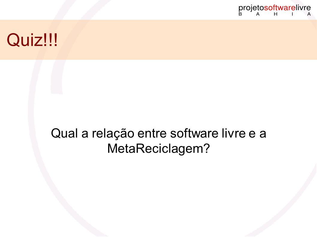Quiz!!! Qual a relação entre software livre e a MetaReciclagem?