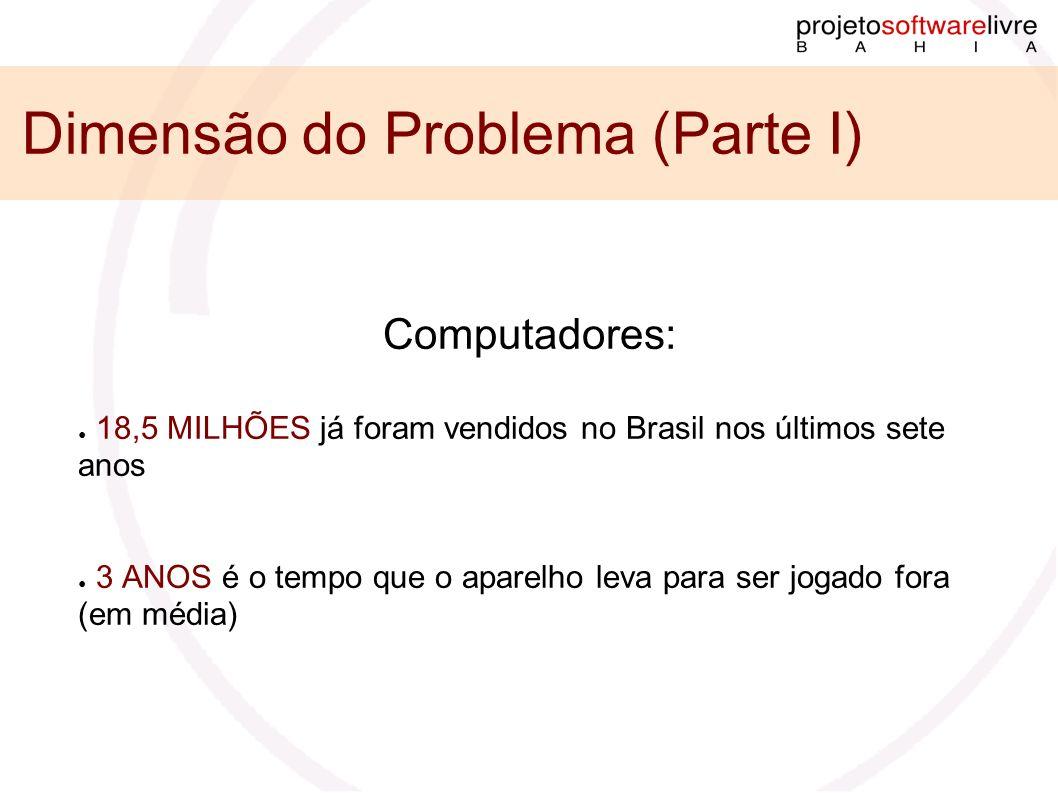 Dimensão do Problema (Parte I) Computadores: 18,5 MILHÕES já foram vendidos no Brasil nos últimos sete anos 3 ANOS é o tempo que o aparelho leva para ser jogado fora (em média)