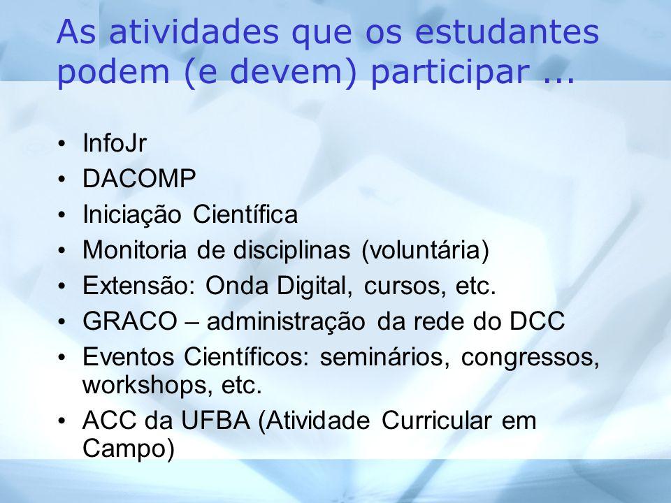 As atividades que os estudantes podem (e devem) participar...