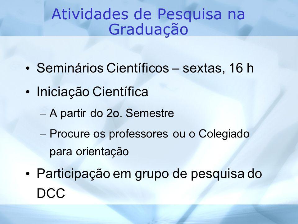 Atividades de Pesquisa na Graduação Seminários Científicos – sextas, 16 h Iniciação Científica – A partir do 2o.