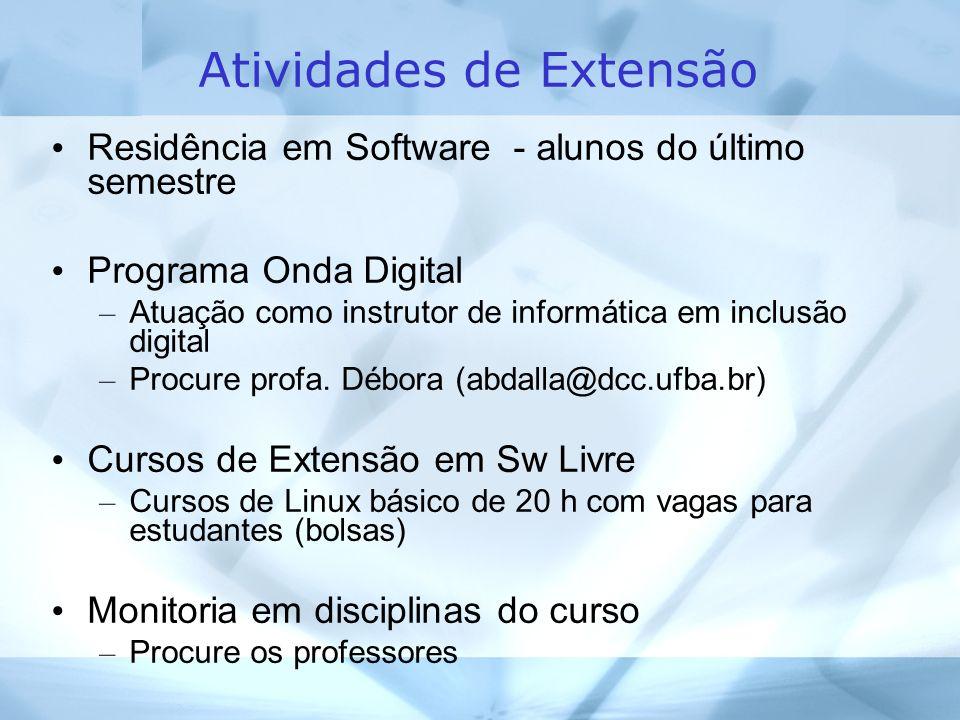 Atividades de Extensão Residência em Software - alunos do último semestre Programa Onda Digital – Atuação como instrutor de informática em inclusão digital – Procure profa.