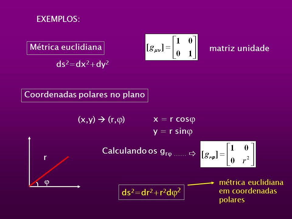 Métrica euclidiana EXEMPLOS: matriz unidade Coordenadas polares no plano (x,y) (r, ) x = r cos y = r sin r Calculando os g r …… ds 2 =dr 2 +r 2 d 2 mé