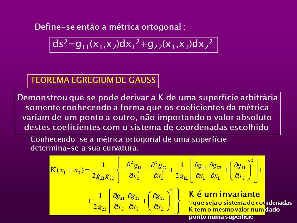 Define-se então a métrica ortogonal : ds 2 =g 11 (x 1,x 2 )dx 1 2 +g 22 (x 1,x 2 )dx 2 2 TEOREMA EGREGIUM DE GAUSS Conhecendo-se a métrica ortogonal d