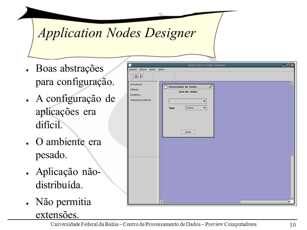 Universidade Federal da Bahia – Centro de Processamento de Dados – Preview Computadores 10 Application Nodes Designer Boas abstrações para configuração.