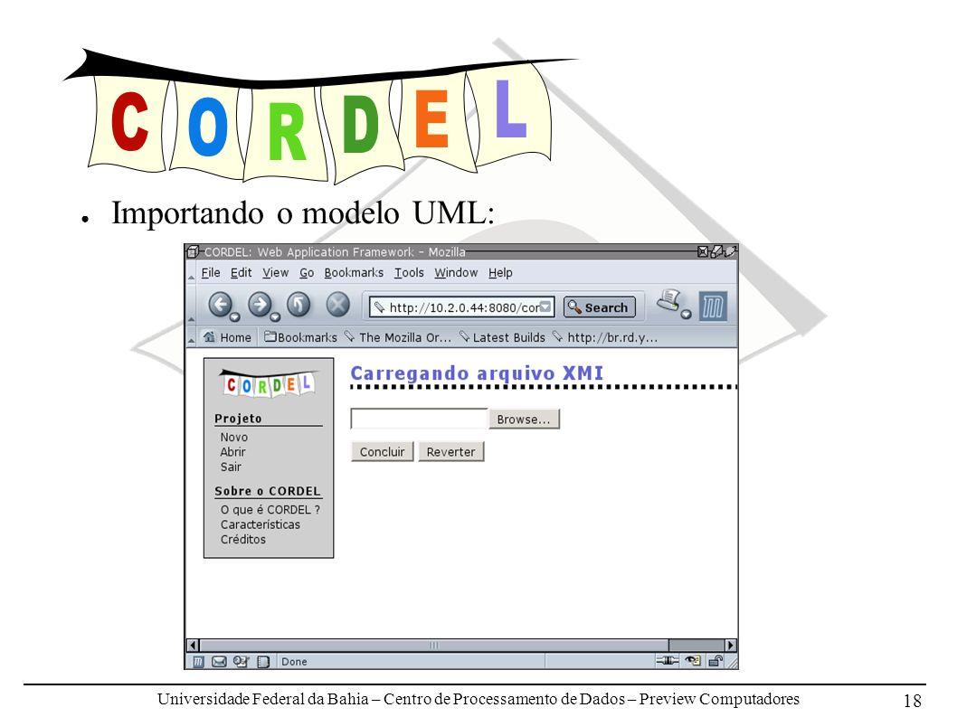 Universidade Federal da Bahia – Centro de Processamento de Dados – Preview Computadores 18 Importando o modelo UML: