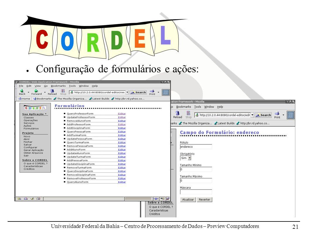 Universidade Federal da Bahia – Centro de Processamento de Dados – Preview Computadores 21 Configuração de formulários e ações: