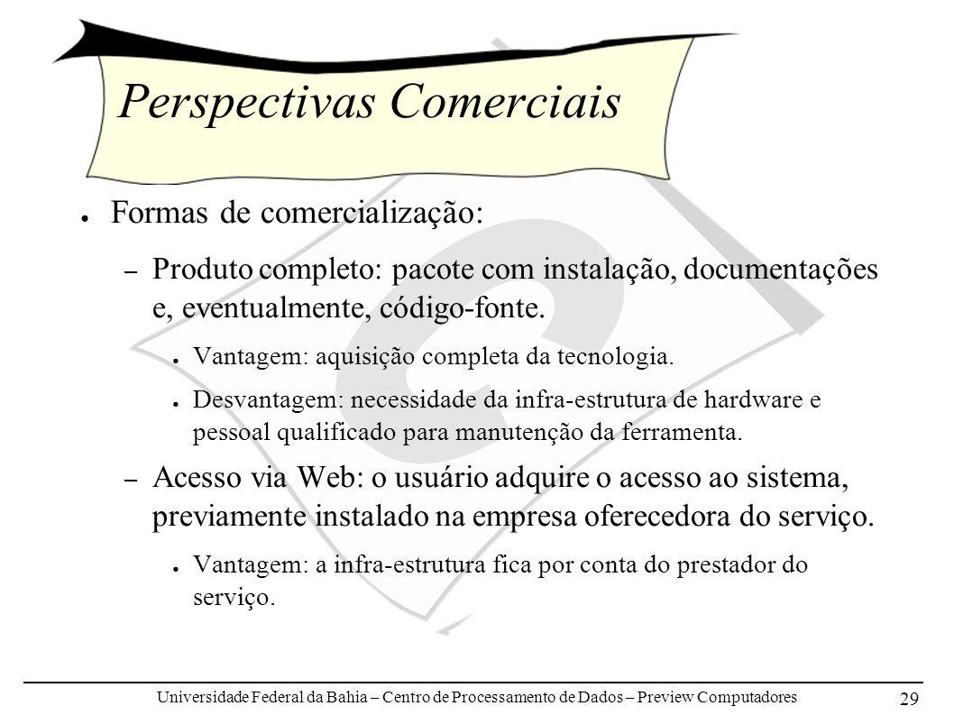 Universidade Federal da Bahia – Centro de Processamento de Dados – Preview Computadores 29 Perspectivas Comerciais Formas de comercialização: – Produto completo: pacote com instalação, documentações e, eventualmente, código-fonte.