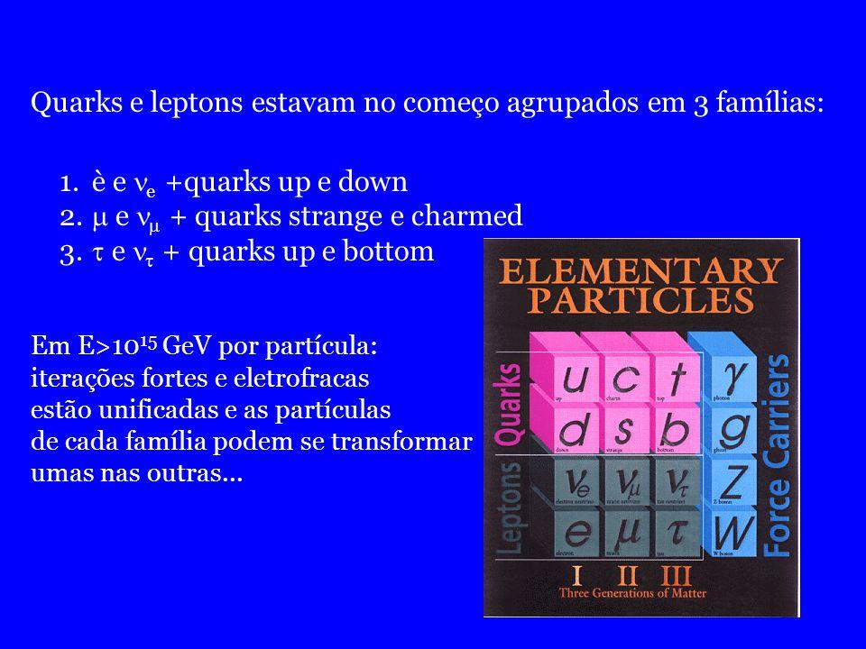 Quarks e leptons estavam no começo agrupados em 3 famílias: 1.è e e +quarks up e down 2. e + quarks strange e charmed 3. e + quarks up e bottom Em E>1