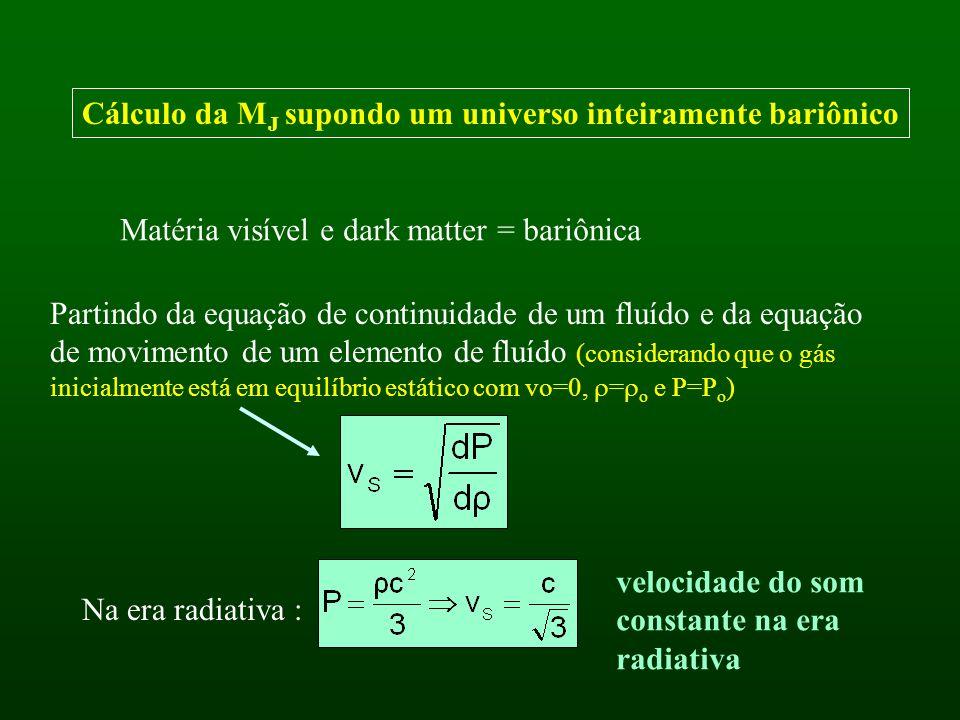 Cálculo da M J supondo um universo inteiramente bariônico Matéria visível e dark matter = bariônica Partindo da equação de continuidade de um fluído e da equação de movimento de um elemento de fluído (considerando que o gás inicialmente está em equilíbrio estático com vo=0, = o e P=P o ) Na era radiativa : velocidade do som constante na era radiativa