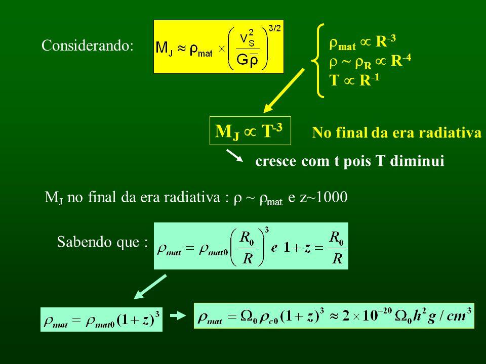 Considerando: mat R -3 ~ R R -4 T R -1 M J T -3 No final da era radiativa cresce com t pois T diminui M J no final da era radiativa : ~ mat e z~1000 Sabendo que :