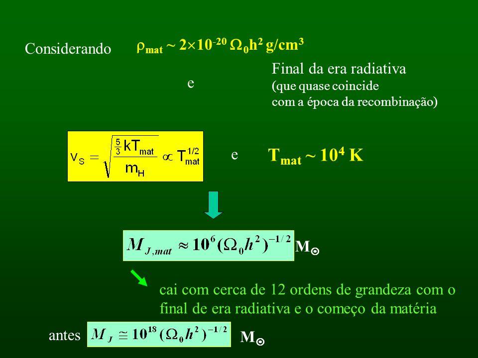 Considerando mat ~ 2 10 -20 0 h 2 g/cm 3 Final da era radiativa (que quase coincide com a época da recombinação) e e T mat ~ 10 4 K M cai com cerca de 12 ordens de grandeza com o final de era radiativa e o começo da matéria M antes