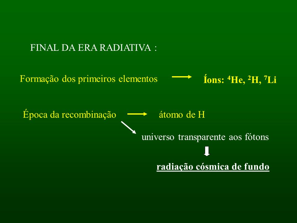 FINAL DA ERA RADIATIVA : Íons: 4 He, 2 H, 7 Li Formação dos primeiros elementos Época da recombinaçãoátomo de H universo transparente aos fótons radiação cósmica de fundo