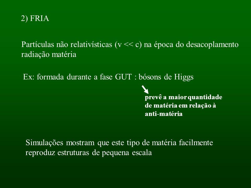 2) FRIA Partículas não relativísticas (v << c) na época do desacoplamento radiação matéria Ex: formada durante a fase GUT : bósons de Higgs prevê a maior quantidade de matéria em relação à anti-matéria Simulações mostram que este tipo de matéria facilmente reproduz estruturas de pequena escala