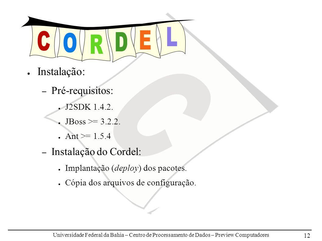Universidade Federal da Bahia – Centro de Processamento de Dados – Preview Computadores 12 Instalação: – Pré-requisitos: J2SDK 1.4.2. JBoss >= 3.2.2.