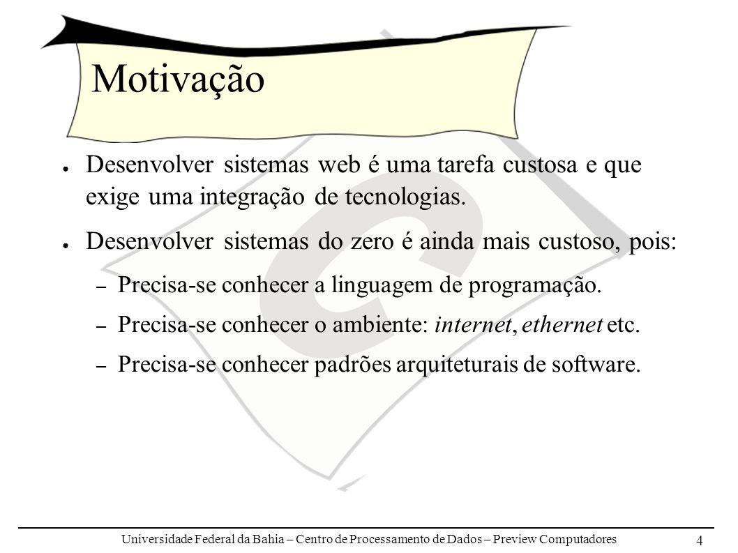 Universidade Federal da Bahia – Centro de Processamento de Dados – Preview Computadores 5 Motivação Projeto Compose CPD/Preview: – Fase 1: Application Nodes Designer Estudo das tecnologias subjacentes: EJB, Struts, Velocity, Ant, JBoss, JSP, JMS, JAAS, JCE etc.