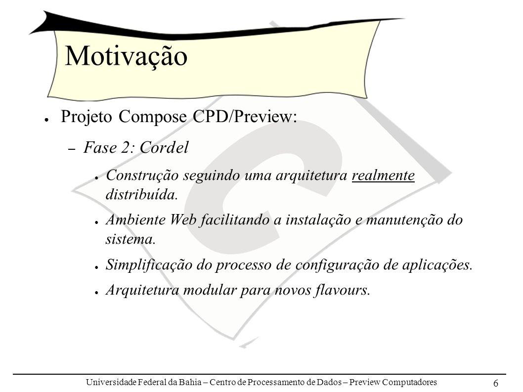 Universidade Federal da Bahia – Centro de Processamento de Dados – Preview Computadores 6 Motivação Projeto Compose CPD/Preview: – Fase 2: Cordel Cons