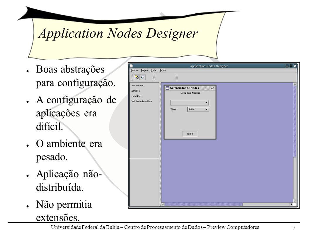 Universidade Federal da Bahia – Centro de Processamento de Dados – Preview Computadores 7 Application Nodes Designer Boas abstrações para configuração