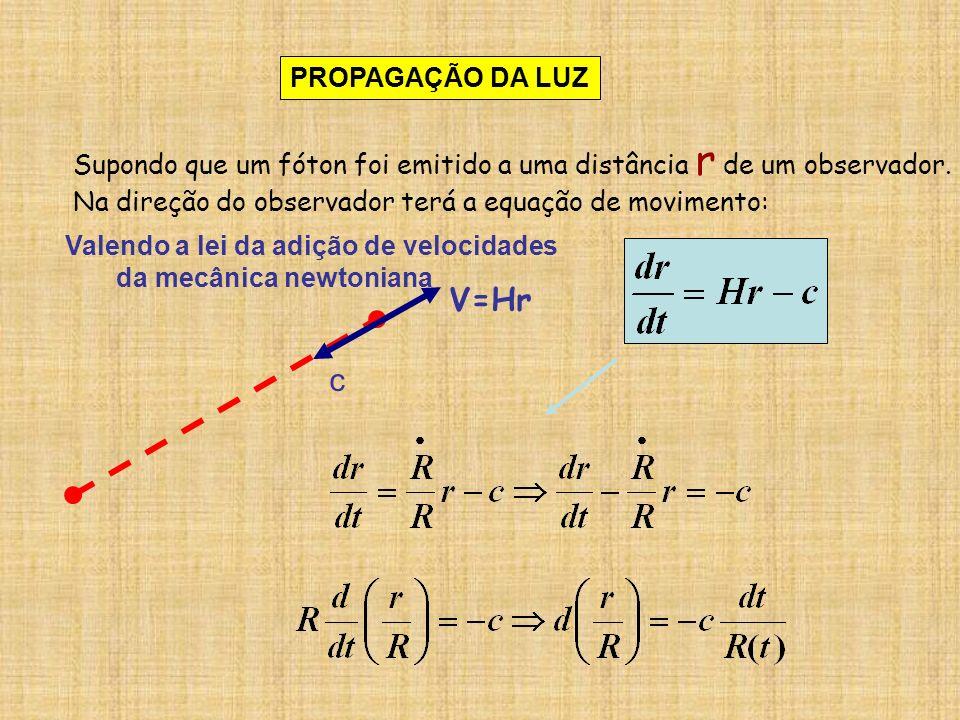Integrando: entre os dois instantes : t o = tempo (atual) em que o fóton é recebido t e = tempo em que o fóton foi emitido entre as distâncias: r o = posição do observador (supondo origem r o =0) r e = distância em que o fóton foi emitido