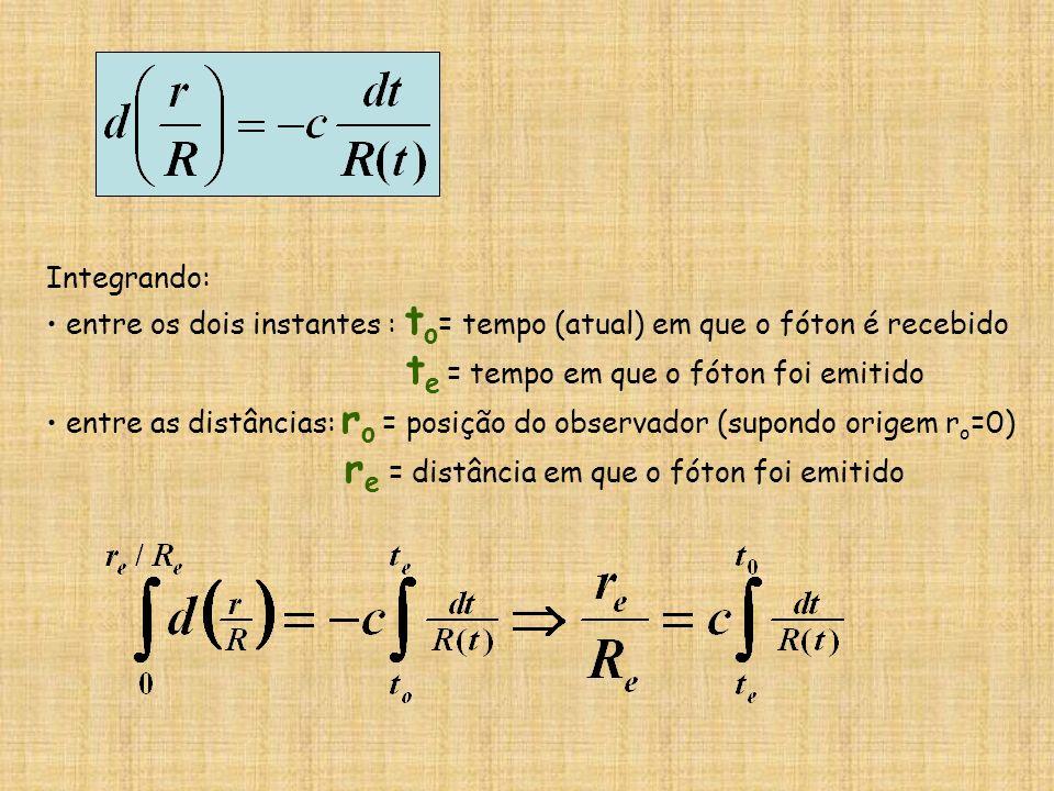 Integrando: entre os dois instantes : t o = tempo (atual) em que o fóton é recebido t e = tempo em que o fóton foi emitido entre as distâncias: r o =