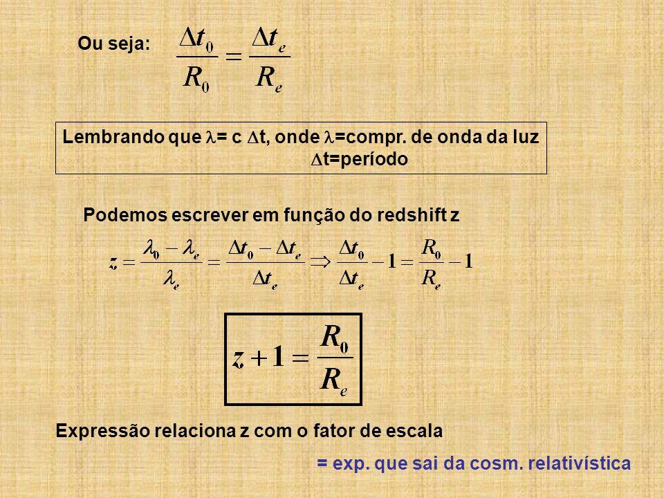 Lembrando que = c t, onde =compr. de onda da luz t=período Ou seja: Podemos escrever em função do redshift z Expressão relaciona z com o fator de esca