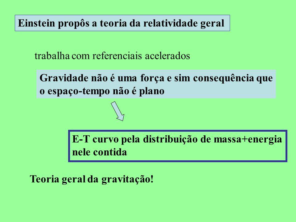 Einstein propôs a teoria da relatividade geral trabalha com referenciais acelerados Gravidade não é uma força e sim consequência que o espaço-tempo nã
