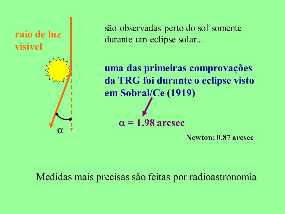 são observadas perto do sol somente durante um eclipse solar... raio de luz visível uma das primeiras comprovações da TRG foi durante o eclipse visto