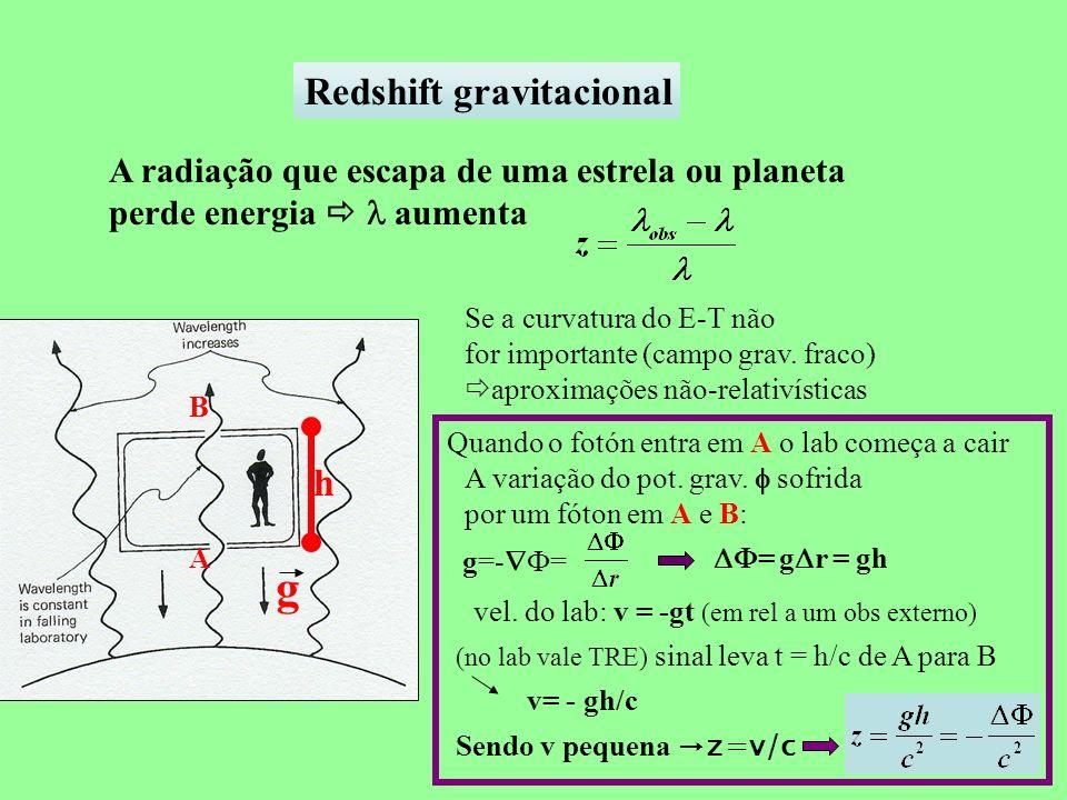 Redshift gravitacional A radiação que escapa de uma estrela ou planeta perde energia aumenta Se a curvatura do E-T não for importante (campo grav. fra