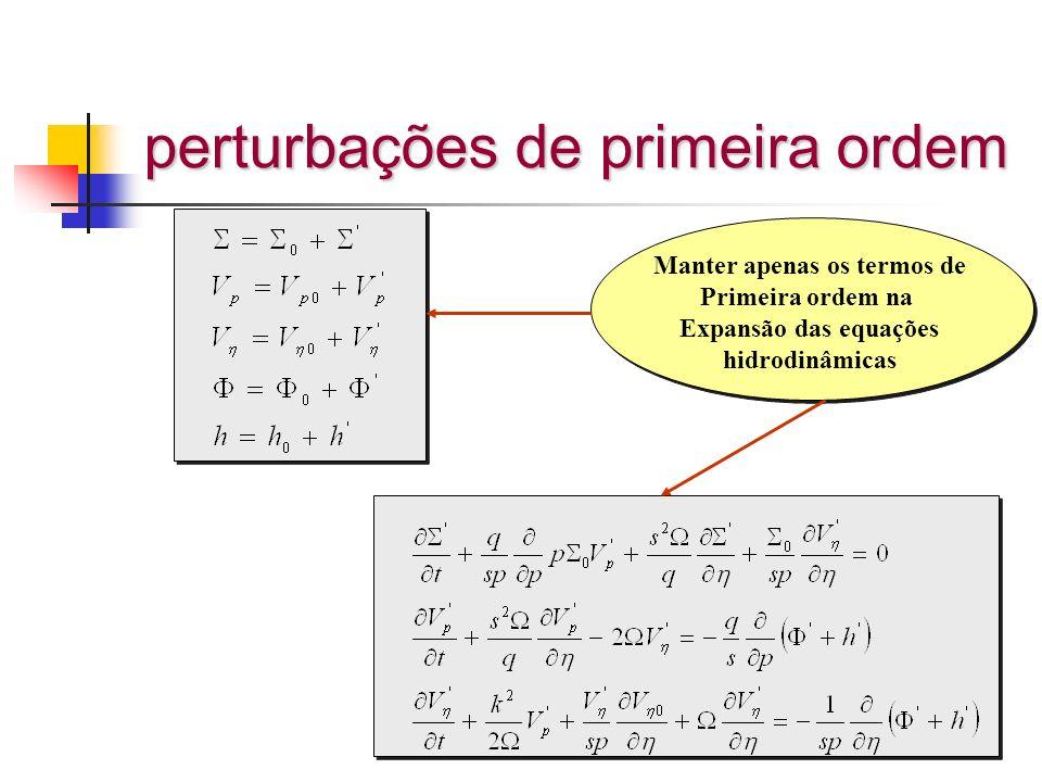 perturbações de primeira ordem Manter apenas os termos de Primeira ordem na Expansão das equações hidrodinâmicas