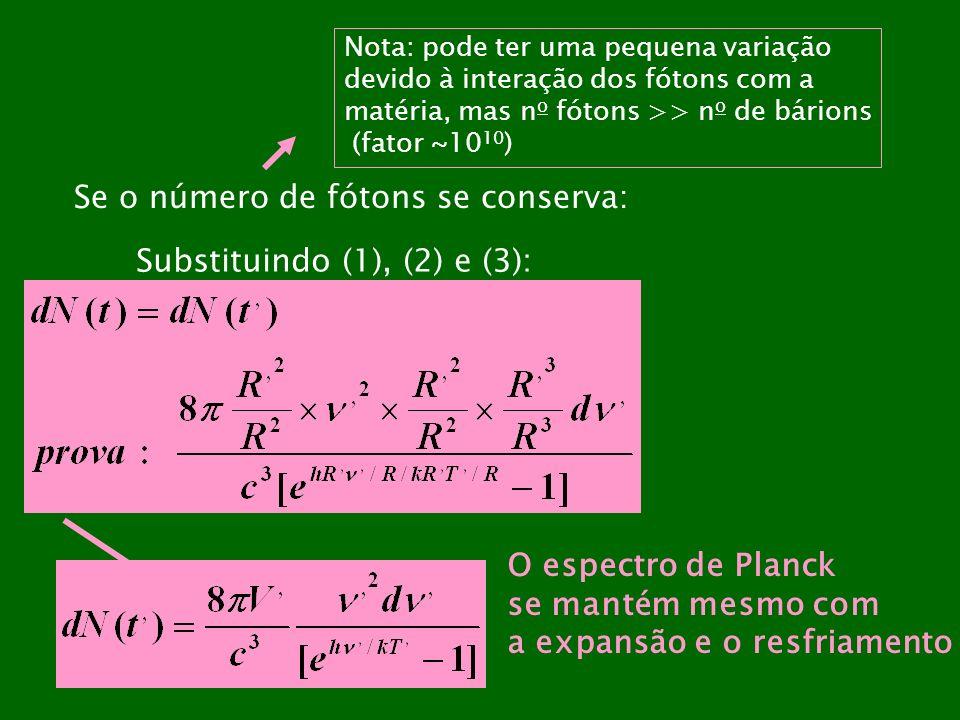 Se o número de fótons se conserva: Nota: pode ter uma pequena variação devido à interação dos fótons com a matéria, mas n o fótons >> n o de bárions (