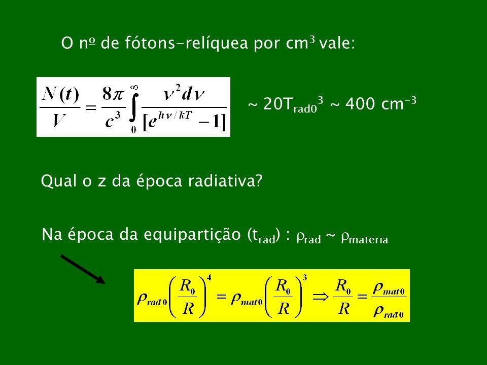O n o de fótons-relíquea por cm 3 vale: ~ 20T rad0 3 ~ 400 cm -3 Qual o z da época radiativa? Na época da equipartição (t rad ) : rad ~ materia