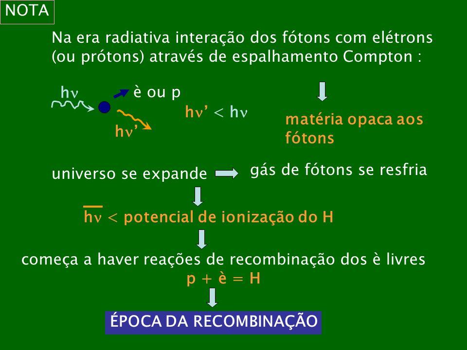 NOTA Na era radiativa interação dos fótons com elétrons (ou prótons) através de espalhamento Compton : h h è ou p h < h matéria opaca aos fótons unive