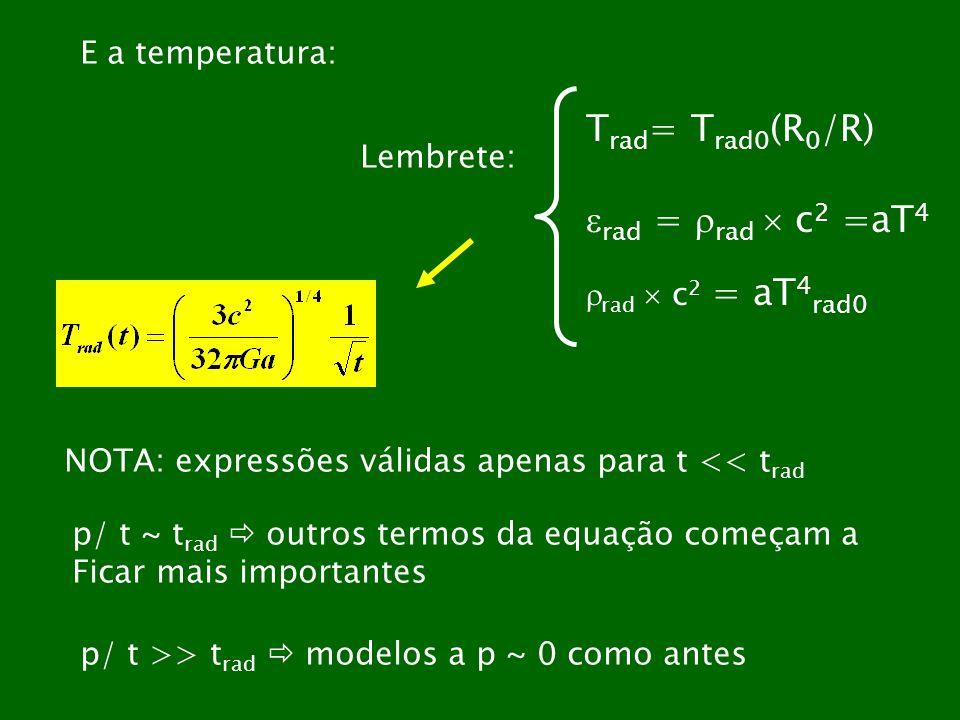 E a temperatura: T rad = T rad0 (R 0 /R) rad = rad c 2 =aT 4 rad c 2 = aT 4 rad0 Lembrete: NOTA: expressões válidas apenas para t << t rad p/ t ~ t ra