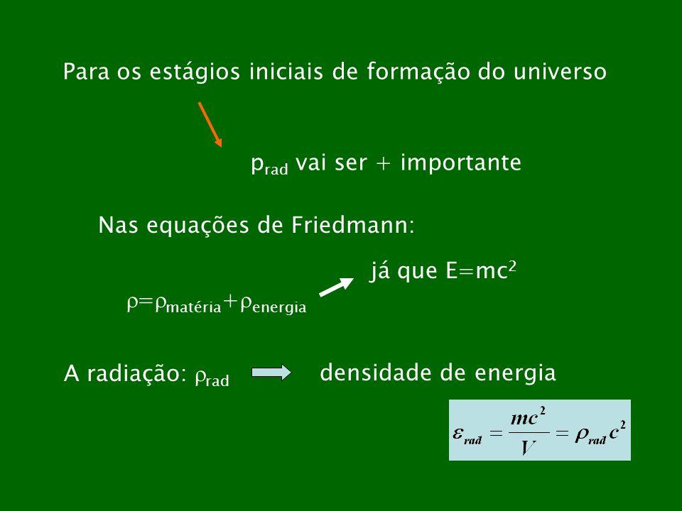 Para os estágios iniciais de formação do universo p rad vai ser + importante Nas equações de Friedmann: = matéria + energia já que E=mc 2 A radiação: