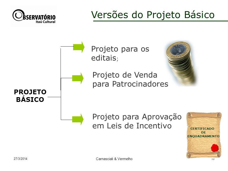 27/3/2014 Carnasciali & Vermelho 13 Versões do Projeto Básico Projeto para Aprovação em Leis de Incentivo PROJETO BÁSICO Projeto de Venda para Patrocinadores CERTIFICADO DE ENQUADRAMENTO Projeto para os editais ;