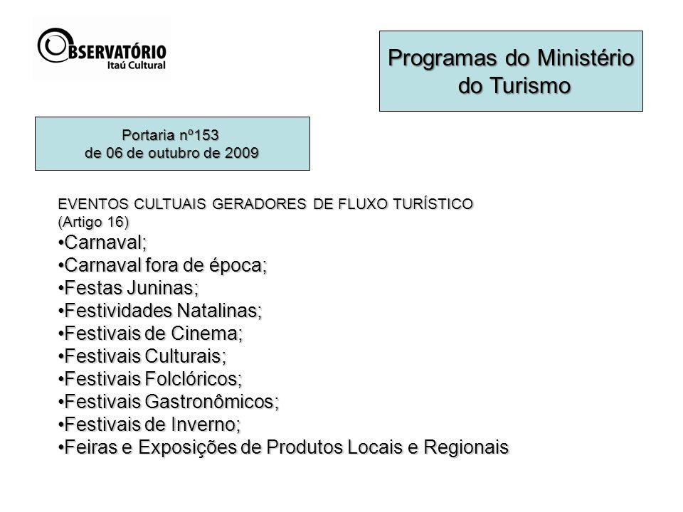 Programas do Ministério do Turismo do Turismo EVENTOS CULTUAIS GERADORES DE FLUXO TURÍSTICO (Artigo 16) Carnaval;Carnaval; Carnaval fora de época;Carn